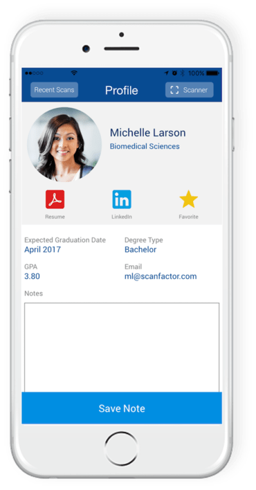Recruiter mobile app interface
